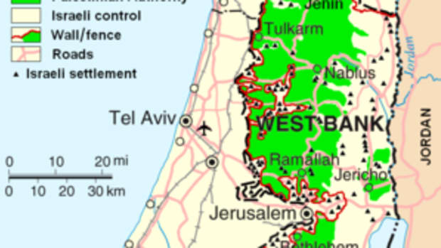 Map showing the West Bank and Gaza Strip in re...