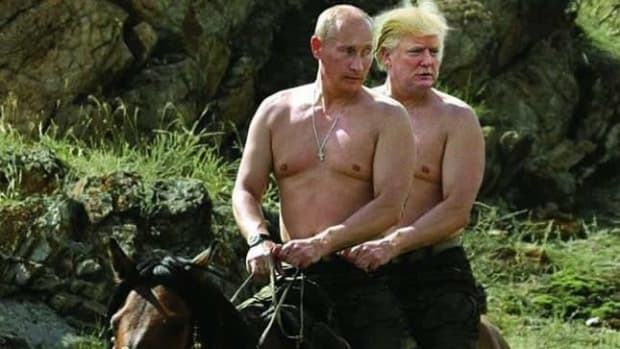 Vladimir Putin and his bottom, Donald Trump