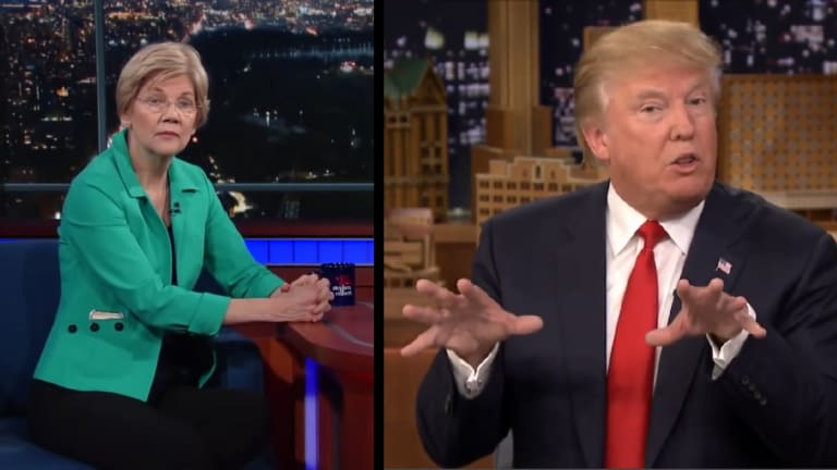 "Watch Donald Trump Call Elizabeth Warren a ""Goofus"" and a ""Basket Case"""