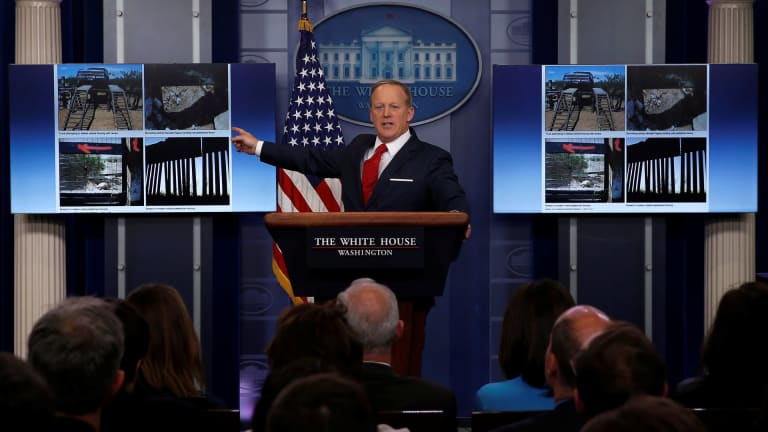 Sean Spicer Caught Lying to Breitbart About Trump's Stupid Border Wall -- Or Fence, Or Levee, Or Whatever...