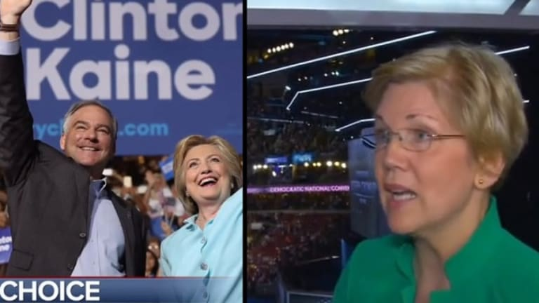 Uh-Oh: Elizabeth Warren Makes it REALLY Obvious She Is Not Happy With Tim Kaine as Hillary's VP