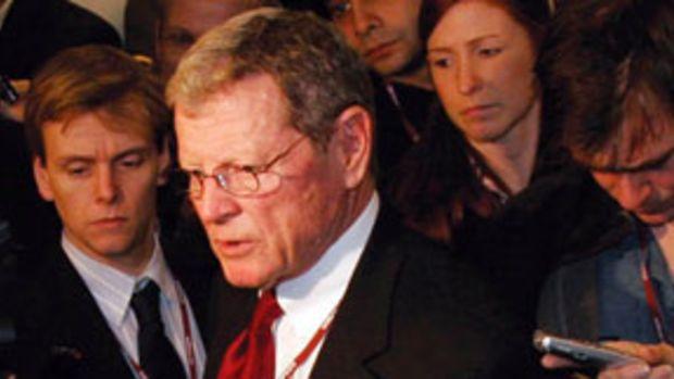 Jim Inhofe speaks to reporters in Copenhagen.
