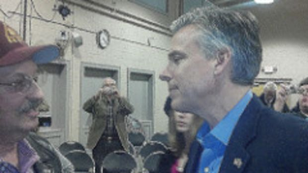Huntsman Greets Supporter In New Hampshire