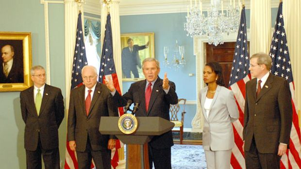 President George W. Bush addresses the press from the State Department after a series of meetings today discussing Americas foreign policy Monday, August, 14, 2006. State Department photo by Michael