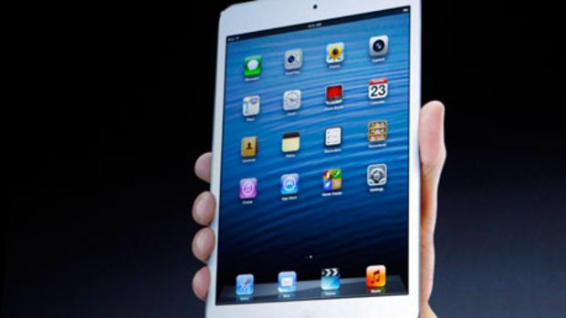 The new iPad mini is projected on a screen during an Apple event in San Jose
