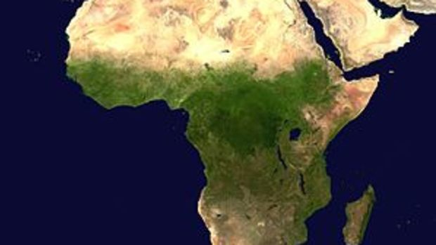 A composed satellite photograph of Africa.