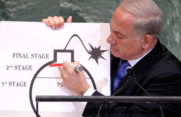 Israeli PM Binyamin Netanyahu draws a r
