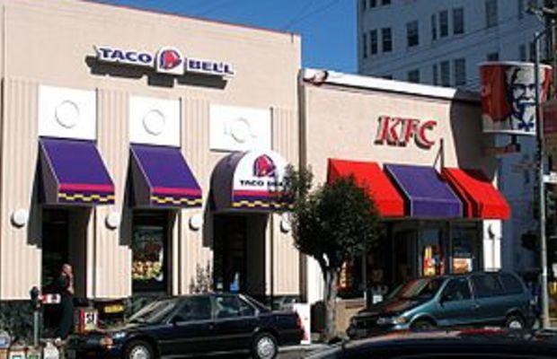 A co-branded Taco Bell/KFC fast food restauran...