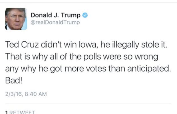Donald Trump Says Ted Cruz Broke the Law to Win Iowa