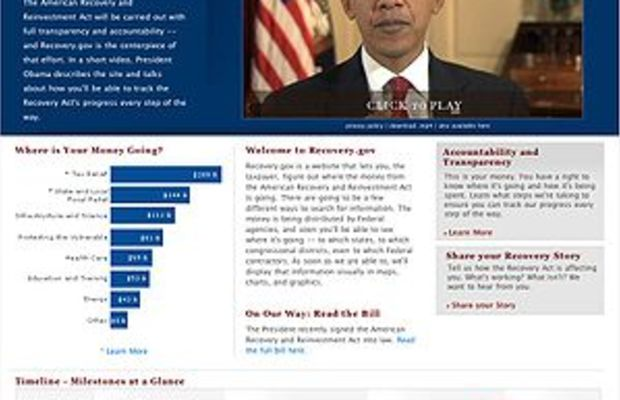 Screenshot of Recovery.gov, which went live af...