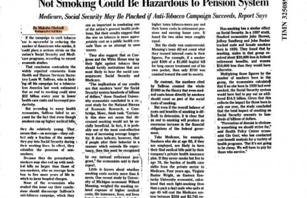 Malcolm Gladwell - Not Smoking Could Be Hazardous to Pension System