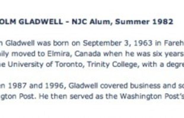 gladwell almuni national journalism center blurb
