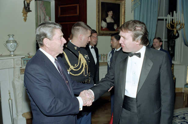 President Reagan shaking hands with Donald Trump at a Reception 11-3-87.jpg