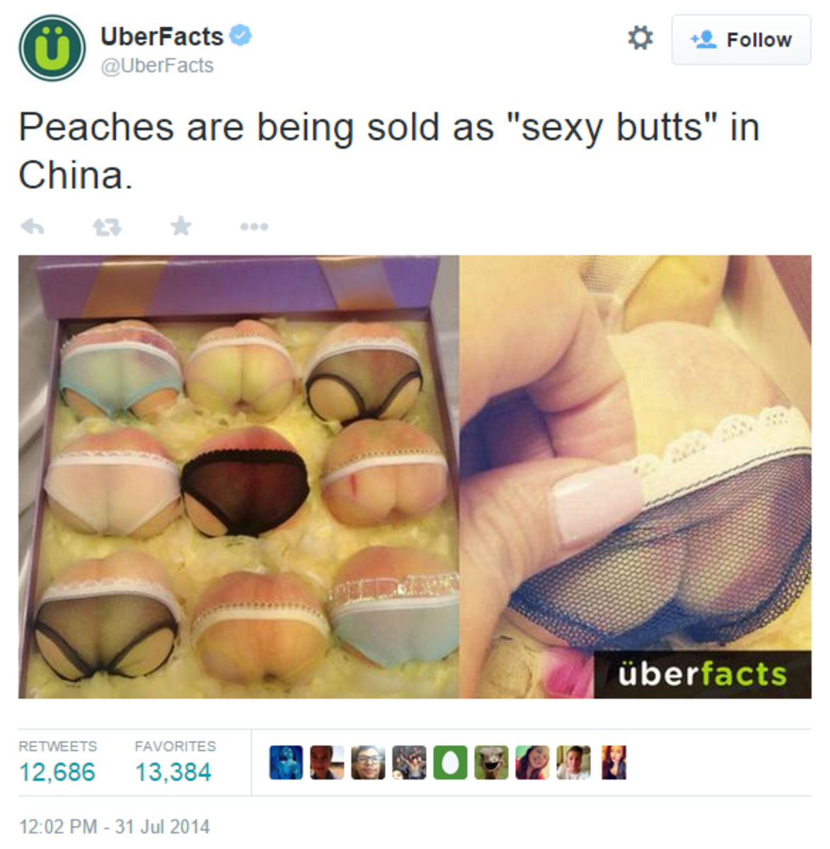 UberFacts on TwitterPeaches are being s