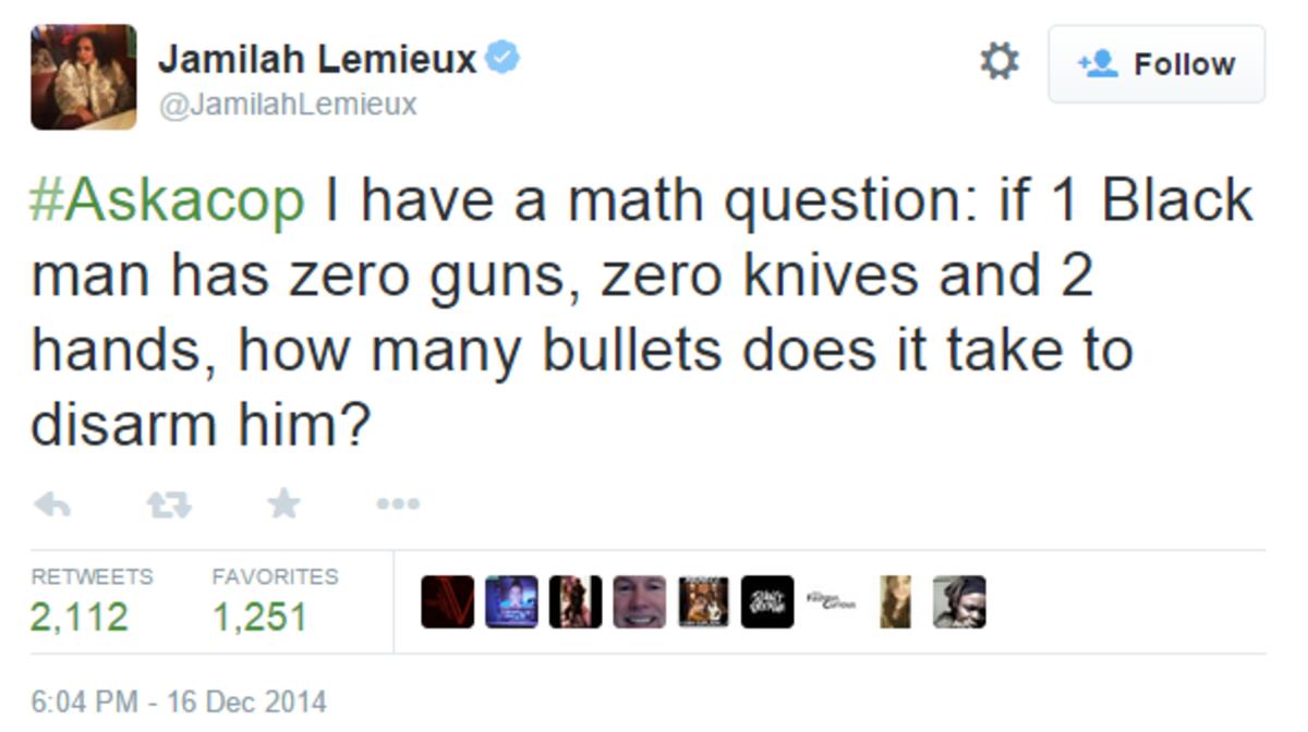 Jamilah Lemieux on Twitter#Askacop I ha