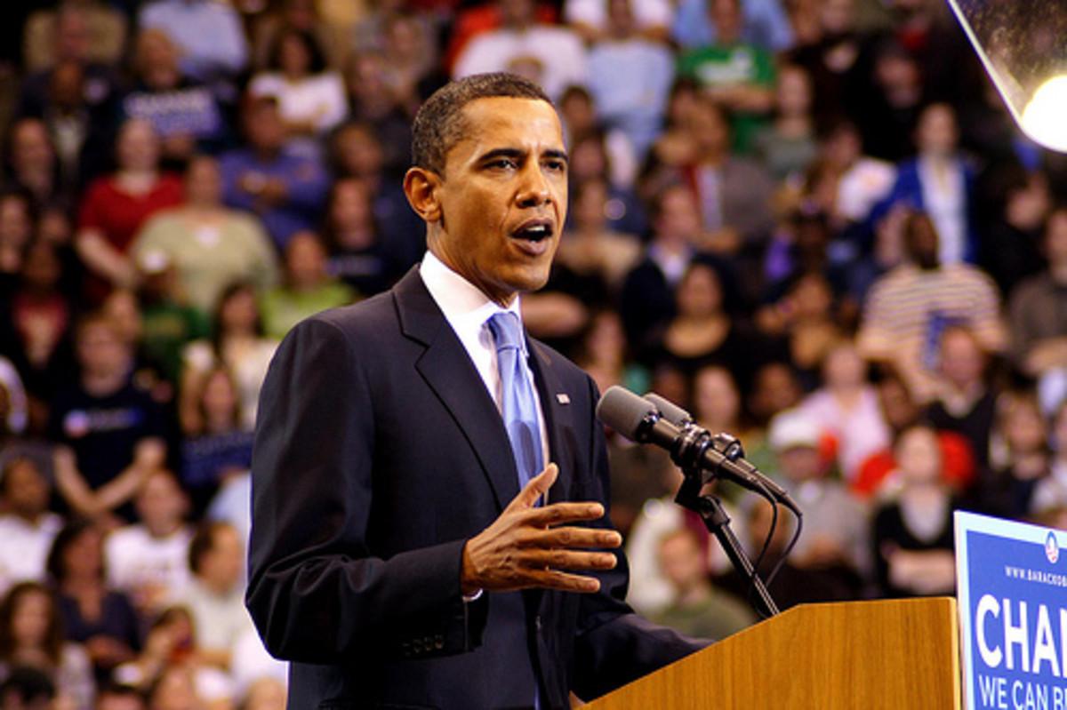 Barack Obama gives a speech by Wa-J.