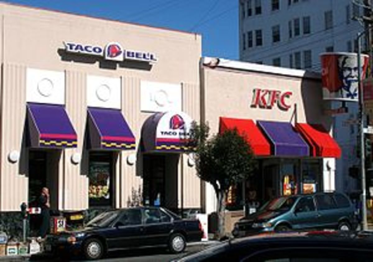 A co-branded Taco Bell/KFC fast food restauran...