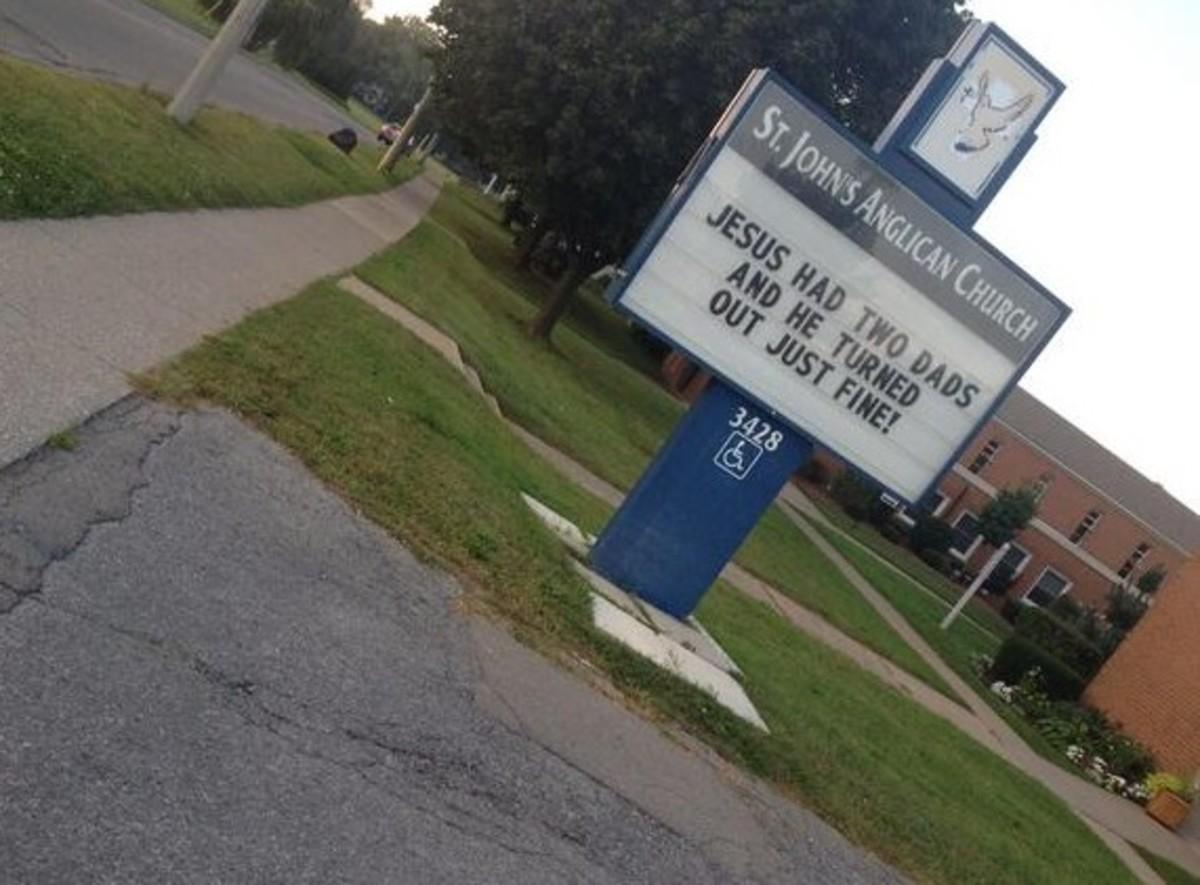 Jesus Had Two Dads: St. Johns Anglican Churchs Pro Gay Sign Goes Viral   Niagara Falls, Ontario