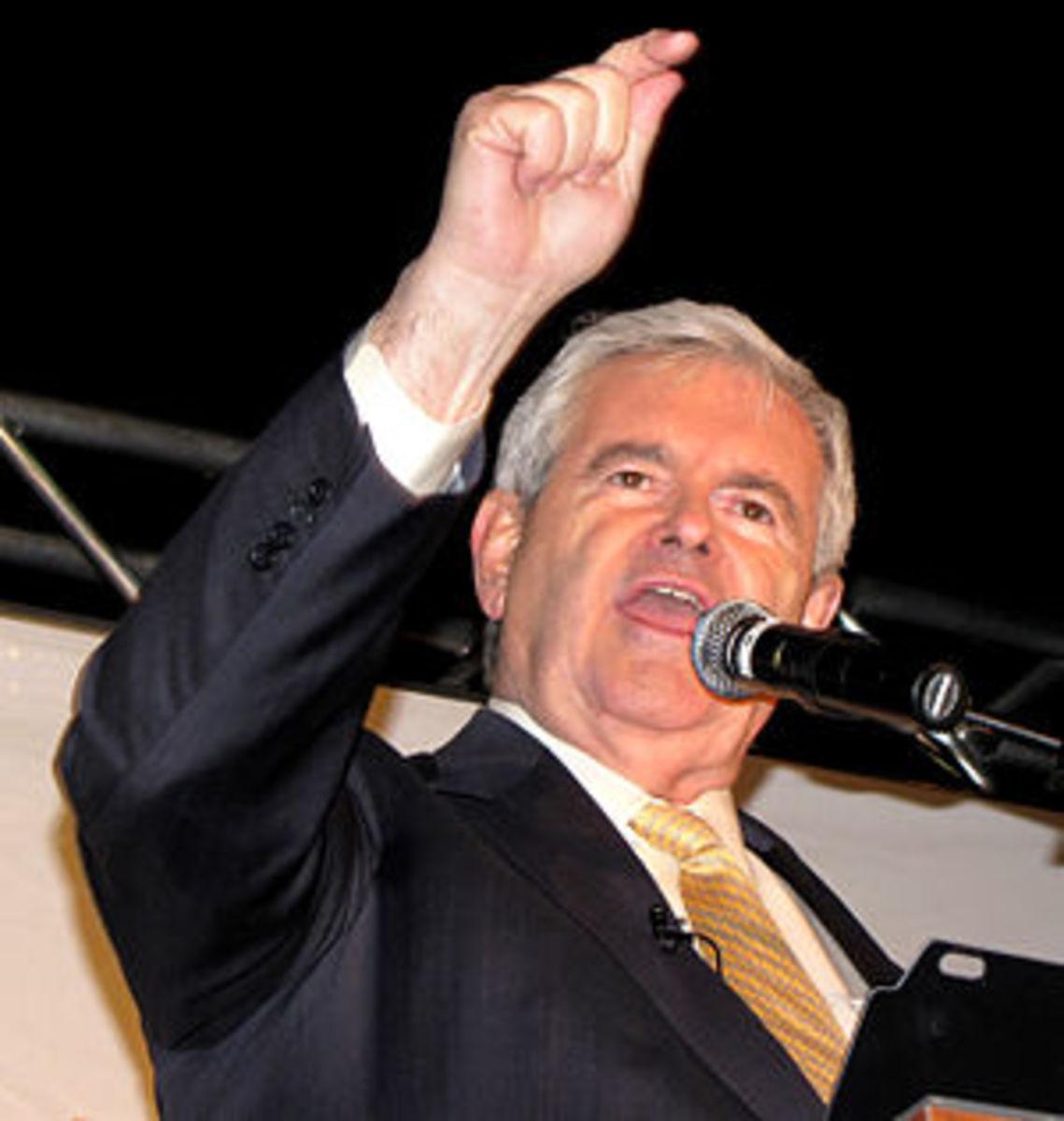Former Speaker of the House Newt Gingrich spea...