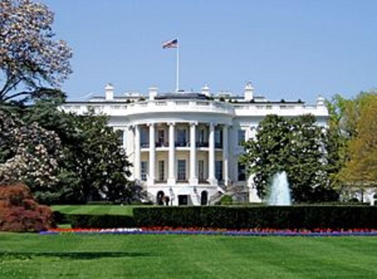 South façade of the White House, the executive...