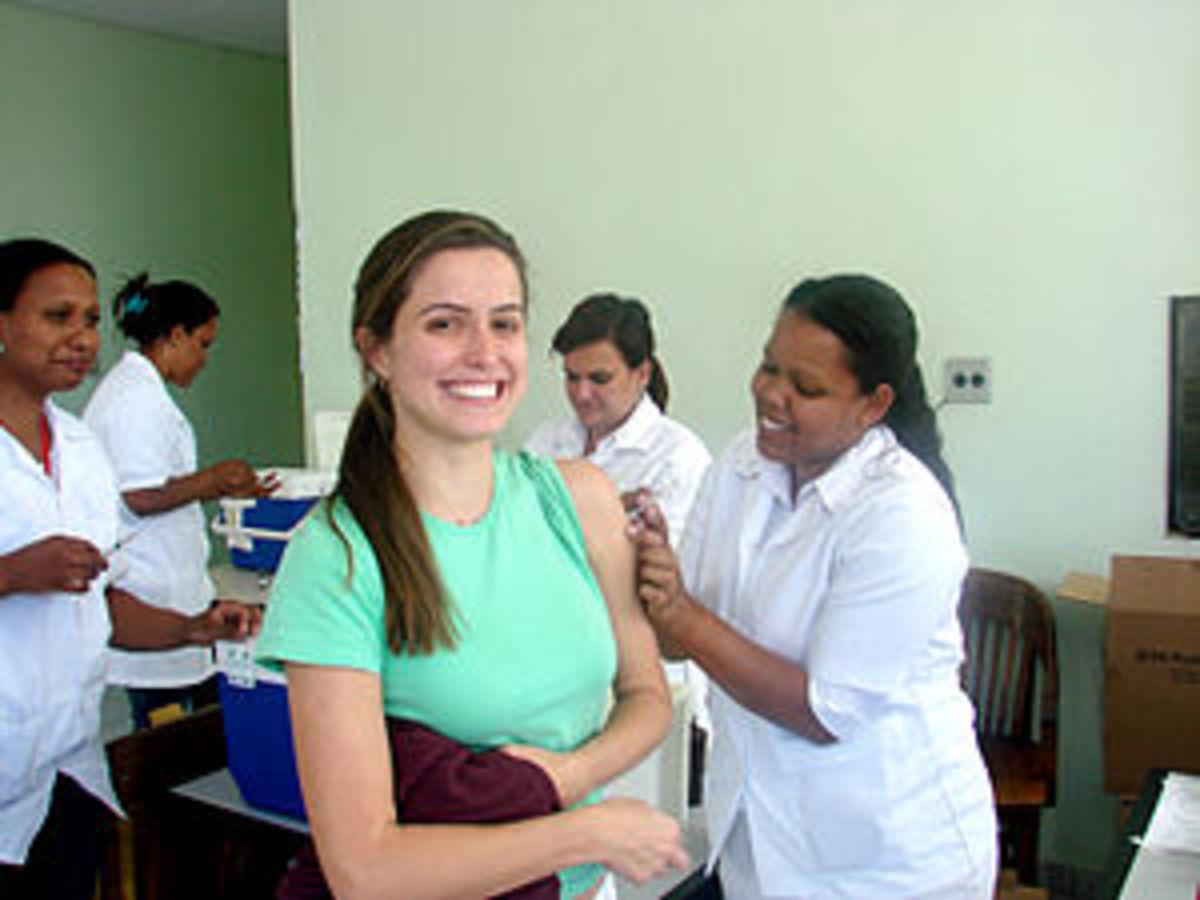 Woman receiving rubella vaccination, School of...