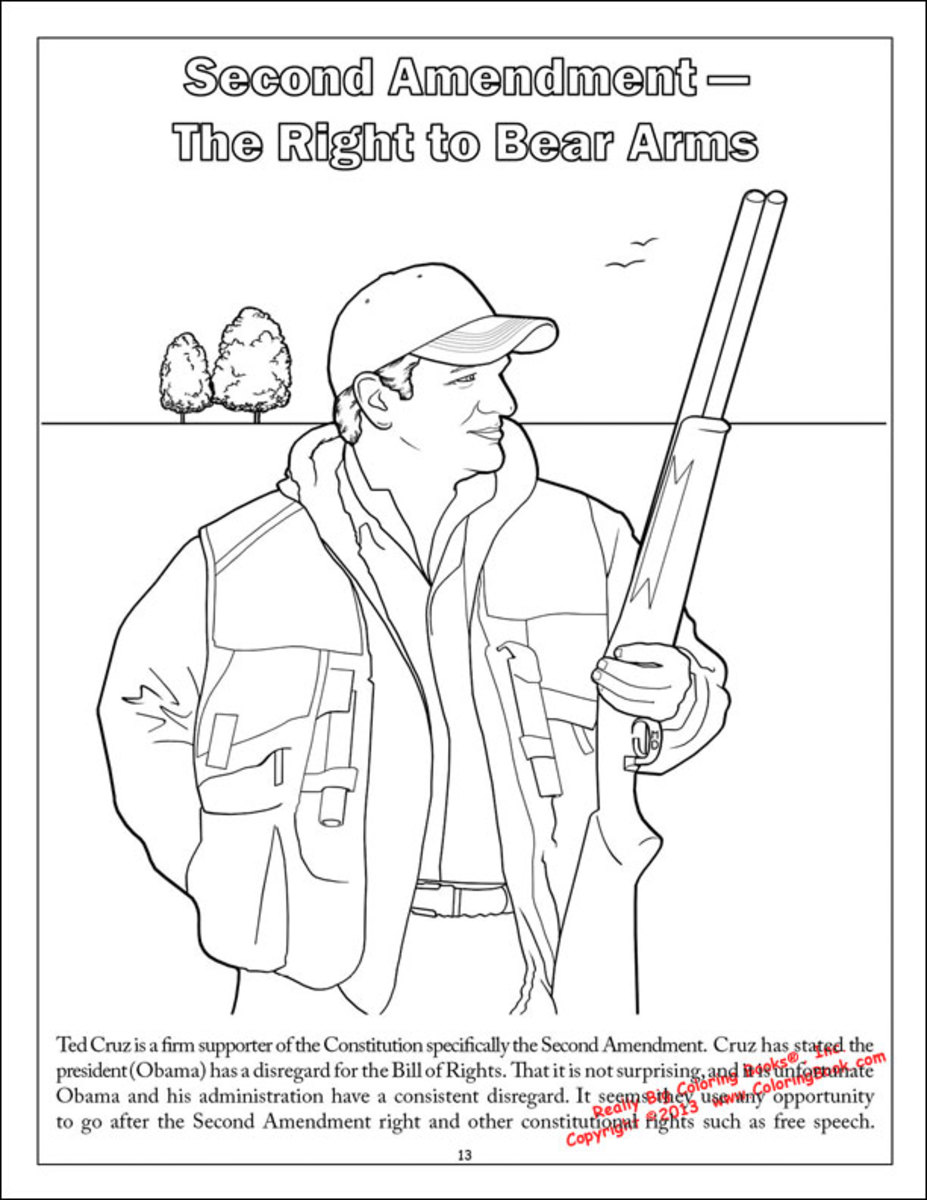 your comprehensive guide to the ted cruz coloring book the daily flipping to the page titled second amendment the right to bear arms featuring a gun toting ted the text below the image reads
