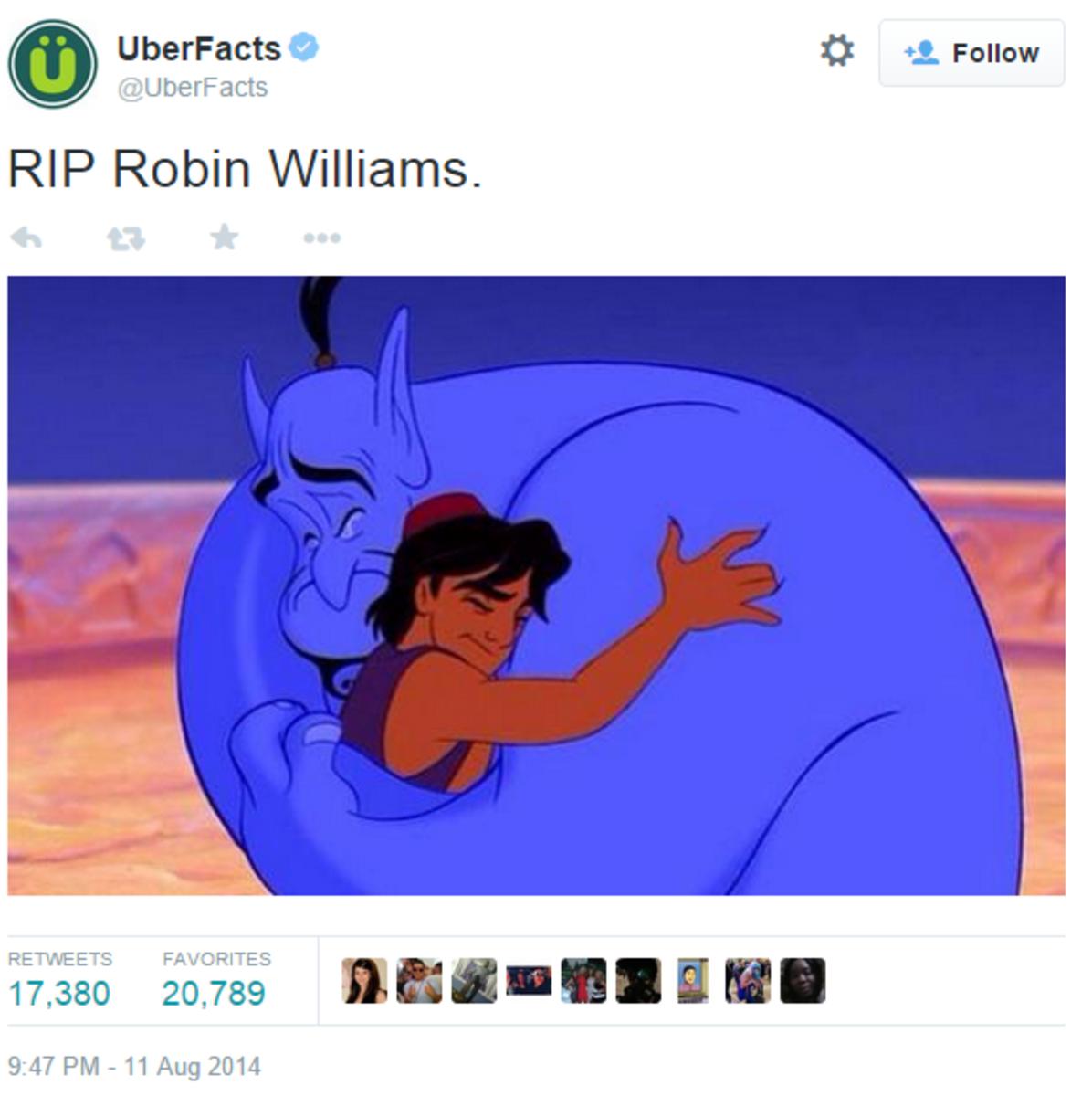UberFacts on TwitterRIP Robin Williams.
