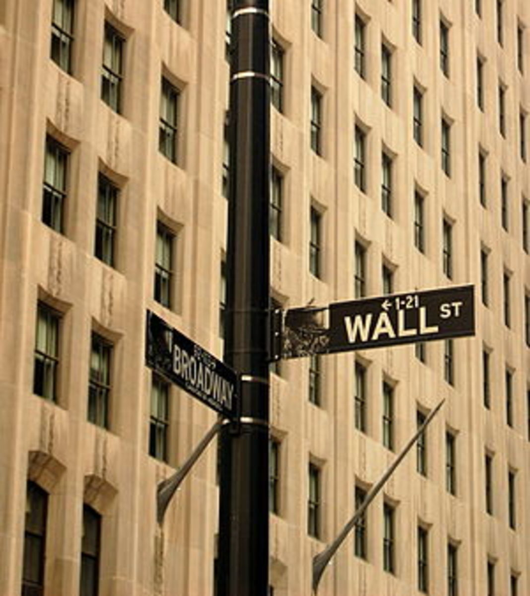 The corner of Wall Street and Broadway, showin...