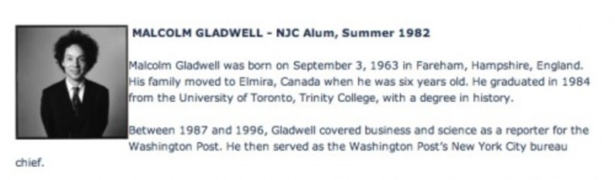 gladwell almuni national journalism center blurb