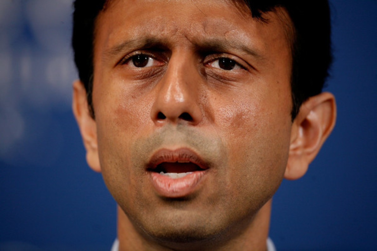Louisana Governor Bobby Jindal addresses the National Press Club May 2, 2008 in Washington, DC. Political observers have been speculating about Jindal, the first Indian-American elected governor of Louisana, being a possible vice presidential running mate for GOP candidate Sen. John McCain (R-AZ). Jindal lead McCain on a tour of about a dozen blocks of the Lower Ninth Ward during a campaign stop in New Orleans last week.
