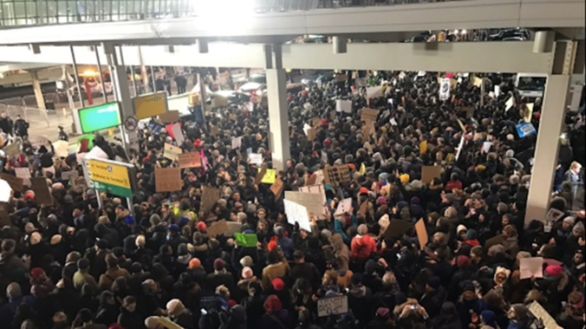 JFK Airport mass protests