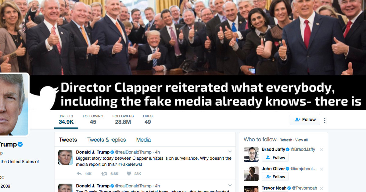 Donald Trump Twitter Profile Clapper Quote