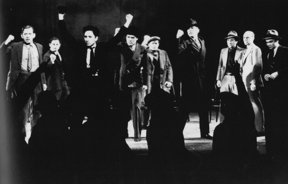 The final scene of Waiting for Lefty, Academy-Award winning director Elia Kazan third-from-left.