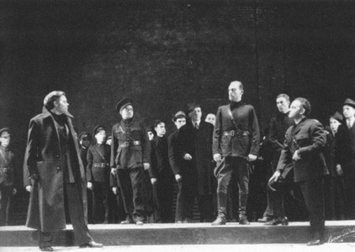 A photograph from Orson Welles' brownshirt Julius Caesar, 1938.