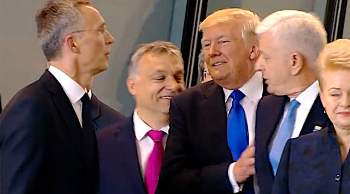 Trump shoves NATO ally and prime minister of Montenegro aside