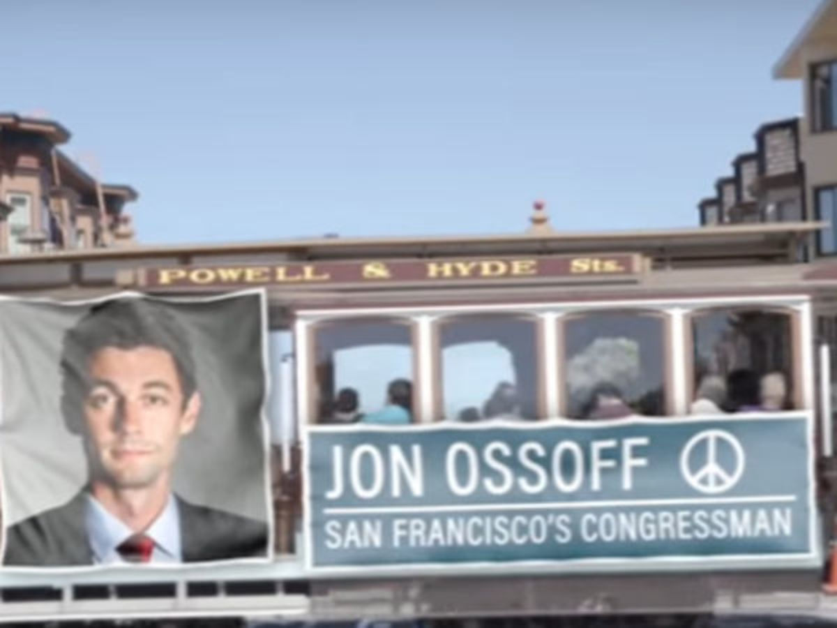 A screen shot from a Republican attack ad against Jon Ossoff.