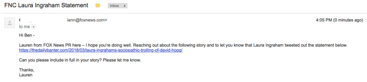 Laura Ingraham email