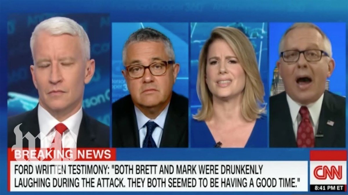 From left to right: Anderson Cooper, Jeffrey Toobin, Kirsten Powers, Michael Caputo