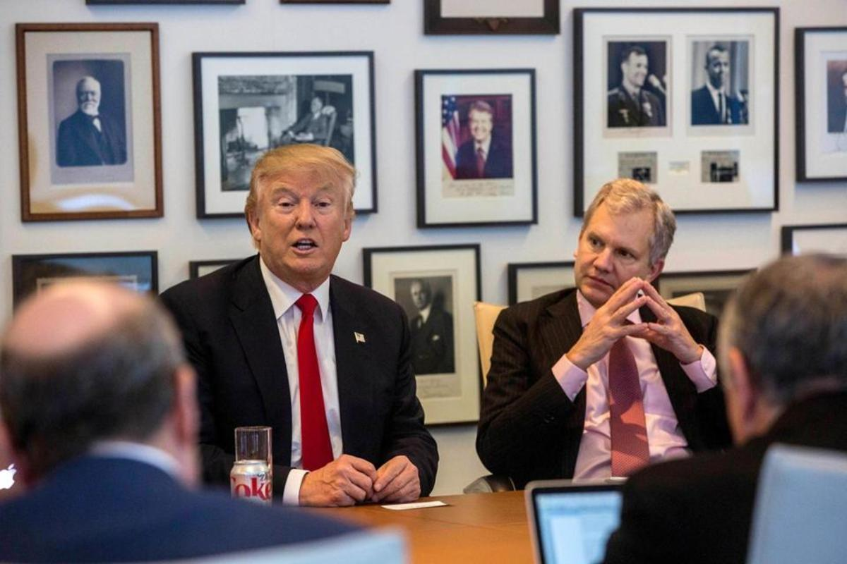 From left to right: Donald Trump, New York Times owner Arthur Sulzberger Jr.