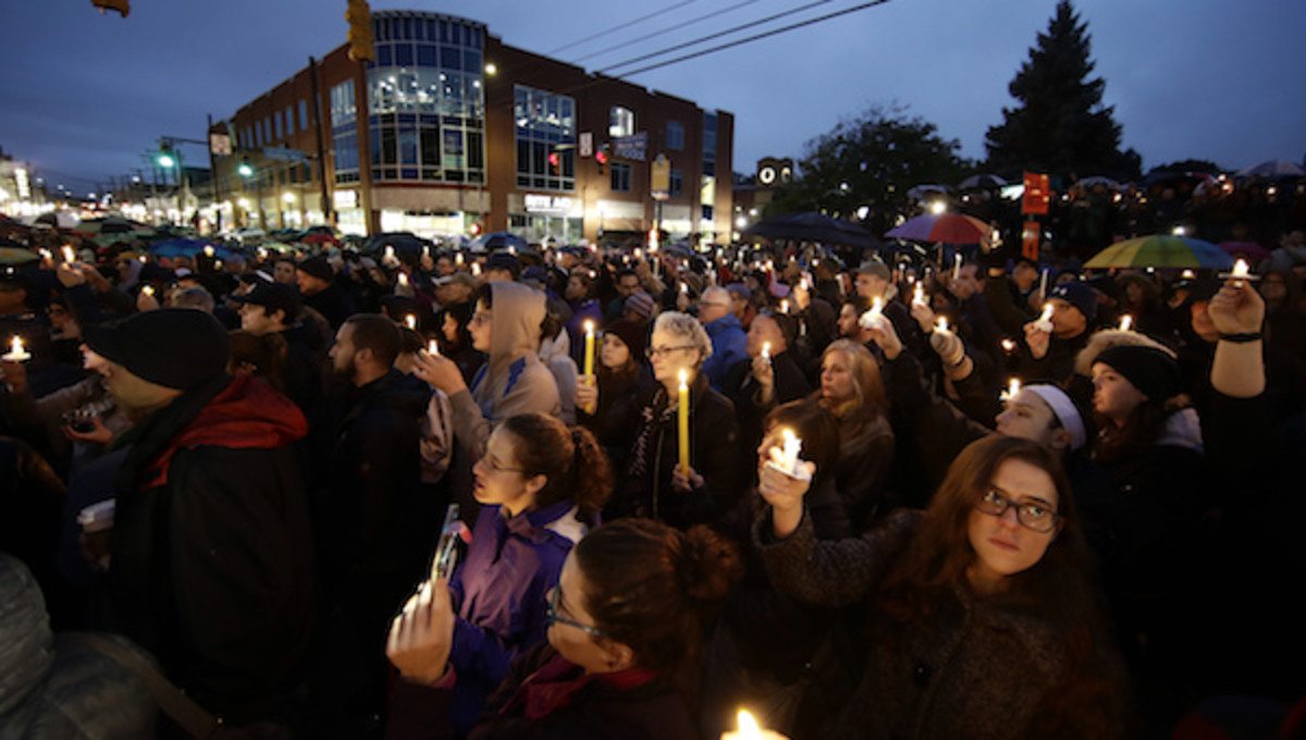 Vigil in the Squirrel Hill neighborhood of Pittsburgh. AP Photo/Matt Rourke