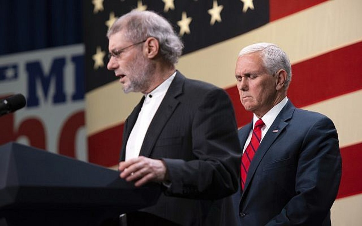 "Mike Pence with ""Rabbi"" Loren JacobsImage via AP"