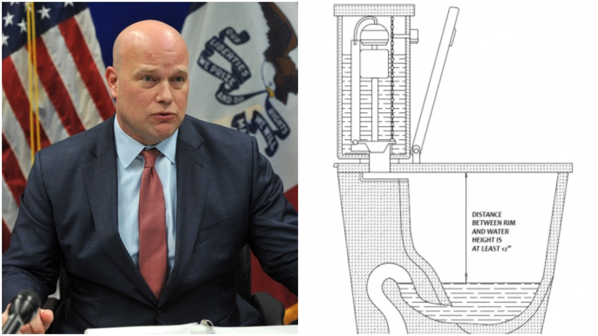 "Acting Attorney General Matthew Whitaker (left), a ""Masculine Toilet Bowl"" (right)"