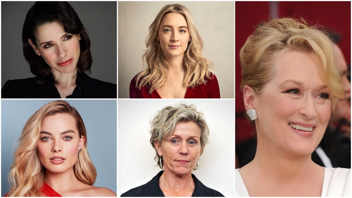Clockwise: Sally Hawkins, Saorise Ronan, Meryl Streep, Frances McDormand, Margot Robbie